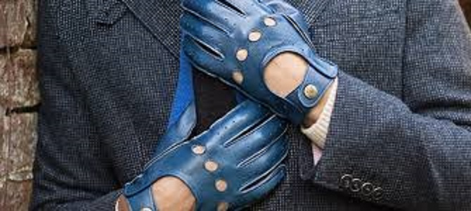 Green Leather Men's Driving Gloves